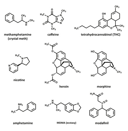 structural formula: Recreational drugs: methamphetamine (crystal meth), caffeine, tetrahydrocannabinol (THC), nicotine, heroin, morphine, amphetamine, MDMA (ecstasy) and modafinil.