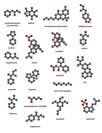 amphetamine: Drogas Recreacionales: metanfetamina (crystal meth), la cafe�na, el tetrahidrocannabinol (THC), MDMA (�xtasis), la nicotina, anfetaminas, hero�na, morfina, catina, la efedrina, la ketamina, modafinil, LSD, nitrito de amilo (popper), catinona, GHB, mephedrone , la mescalina una