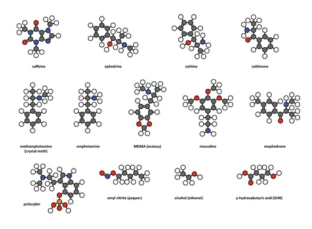 mescaline: Recreational drugs: caffeine, ephedrine, cathine, cathinone, methamphetamine (crystal meth), amphetamine, MDMA (ecstasy), mescaline, mephedrone, psilocybin, amyl nitrite (popper), alcohol and GHB. Atoms represented as conventionally colored circles. Illustration