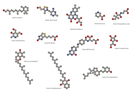 Vitamins (all except vitamin B12), chemical structures: Vitamin A, B1, B2, B3, B5, B6, B7, B9, C, D, E and K. Atoms represented as conventionally colored circles (hydrogens omitted for clarity).