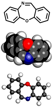 cr: Dibenzoxazepine (CR) tear gas molecule. CR gas is used as a riot control agent. Atoms are represented as spheres with conventional color coding: hydrogen (white), carbon (grey), oxygen (red), nitrogen (blue) Illustration