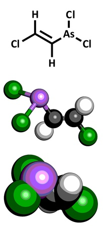 arsenic: Lewisite chemical weapon molecule. Lewisite is an organoarsenic compound. Atoms are represented as spheres with conventional color coding: hydrogen (white), carbon (grey), chlorine (green), arsenic (purple) Illustration