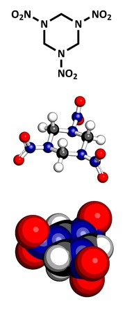 propellant: RDX (cyclonite, hexogen) explosive molecule, chemical structure. Atoms are represented as spheres with conventional color coding: hydrogen (white), carbon (grey), oxygen (red), nitrogen (blue)