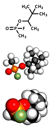 wmd: Soman nerve agent, molecular model. Soman is a chemical weapon, classified as a weapon of mass destruction. Atoms are represented as spheres with conventional color coding: hydrogen (white), carbon (grey), oxygen (red), phosphorus (orange), fluorine (gree Illustration