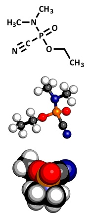 white phosphorus: Tabun nerve agent, molecular model. Tabun is a chemical weapon, classified as a weapon of mass destruction. Atoms are represented as spheres with conventional color coding: hydrogen (white), carbon (grey), oxygen (red), nitrogen (blue), phosphorus (orange