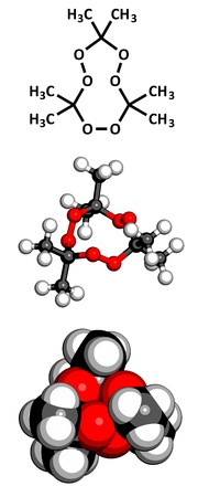 peroxide: Acetone peroxide (triacetone peroxide, TATP) explosive molecule, chemical structure. Atoms are represented as spheres with conventional color coding: hydrogen (white), carbon (grey), oxygen (red)