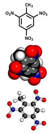nitrogen: Trinitrotoluene (TNT) explosive molecule, chemical structure. Atoms are represented as spheres with conventional color coding: hydrogen (white), carbon (grey), oxygen (red), nitrogen (blue) Illustration