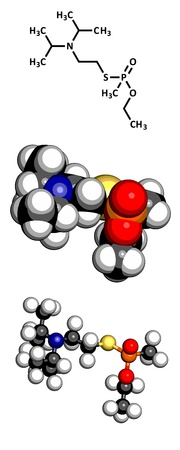possum: VX nerve agent, molecular model. VX is a chemical weapon, classified as a weapon of mass destruction. Atoms are represented as spheres with conventional color coding: hydrogen (white), carbon (grey), oxygen (red), nitrogen (blue), sulfur (yellow), phospho
