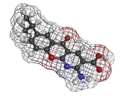 ulcers: Amlexanox canker sore drug, molecular model. Amlexanox is used to treat aphthous ulcers in the mouth as well as several inflammatory diseases. Atoms are represented as spheres with conventional color coding: hydrogen (white), carbon (grey), oxygen (red),