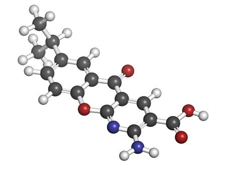 ulceras: Amlexanox afta droga, modelo molecular. Amlexanox se utiliza para tratar las ?lceras aftosas en la boca, as? como varias enfermedades inflamatorias. Los ?tomos se representan como esferas con codificaci?n de color convencionales: hidr?geno (blanco), carbono (gris), ox?geno (rojo),