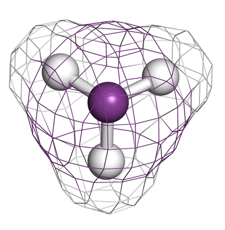 Arsine toxic gas molecule. Arsine is a volatile arsenic compound. Atoms are represented as spheres with conventional color coding: hydrogen (white), arsenic (purple) Stock Photo - 19617672