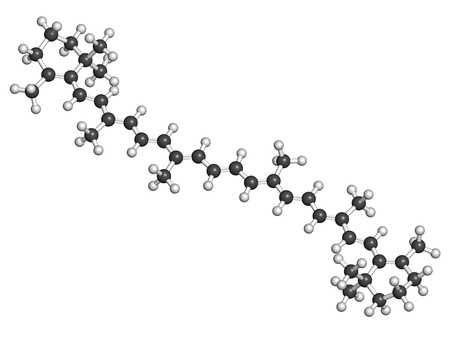 carot: Beta-carotene carot pigment, molecular model. Beta-carotene is a natural vitamin A precursor (provitamin). Atoms are represented as spheres with conventional color coding: hydrogen (white), carbon (grey) Stock Photo