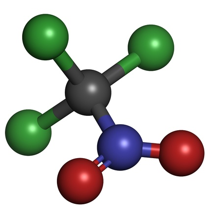 ps: Chloropicrin (PS) chemical warfare agent. PS is also used as a fumigant and nematicide. Atoms are represented as spheres with conventional color coding: carbon (grey), oxygen (red), nitrogen (blue), chlorine (green) Stock Photo