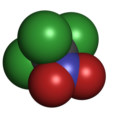 Chloropicrin (PS) chemical warfare agent. PS is also used as a fumigant and nematicide. Atoms are represented as spheres with conventional color coding: carbon (grey), oxygen (red), nitrogen (blue), chlorine (green) Stock Photo - 19617648