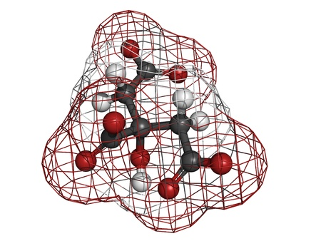 limescale: Citric acid, molecular model. Atoms are represented as spheres with conventional color coding: hydrogen (white), carbon (grey), oxygen (red).