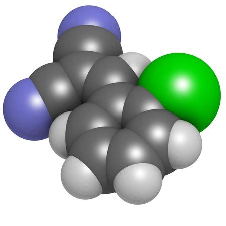 cs: CS tear gas molecule (2-chlorobenzalmolononitrile). Atoms are represented as spheres with conventional color coding: hydrogen (white), carbon (grey),  nitrogen (blue), chlorine (green)