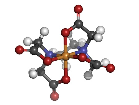 chelation: EDTA iron complex, molecular model. Atoms are represented as spheres with conventional color coding: hydrogen (white), carbon (grey), oxygen (red), nitrogen (blue), iron (brown)