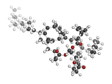 Fish oil triglyceride containing docosahexanoic acid (DHA), gadoleic acid and palmitoleic acid. Molecular model. Atoms are represented as spheres with conventional color coding: hydrogen (white), carbon (grey), oxygen (red). photo