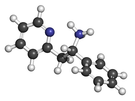 major depression: Lanicemine experimental antidepressant, molecular model. Atoms are represented as spheres with conventional color coding: hydrogen (white), carbon (grey), nitrogen (blue)