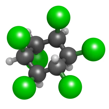 Lindane pesticide, molecular model. Atoms are represented as spheres with conventional color coding: hydrogen (white), carbon (grey), chlorine (green). Stock Photo - 19617656