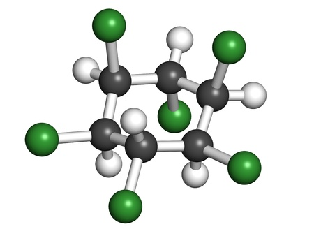 Lindane pesticide, molecular model. Atoms are represented as spheres with conventional color coding: hydrogen (white), carbon (grey), chlorine (green). Stock Photo - 19617569