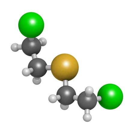 sulfide: Mustard gas (Yperite, bis(2-chloroethyl) sulfide) molecule, chemical structure. Mustard gas is a chemical warfare agent. Atoms are represented as spheres with conventional color coding: hydrogen (white), carbon (grey), sulfur (yellow), chlorine (green)