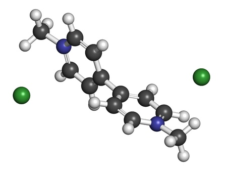 ammonium: dipyridylium weed killer, molecular model. Atoms are represented as spheres with conventional color coding: hydrogen (white), carbon (grey), nitrogen (blue), chlorine (green). Stock Photo