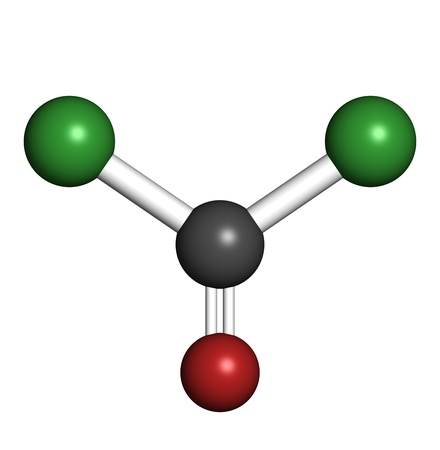 molekuul: Phosgene chemical warfare agent molecule, chemical structure. Atoms are represented as spheres with conventional color coding: chlorine (green), carbon (grey), oxygen (red)