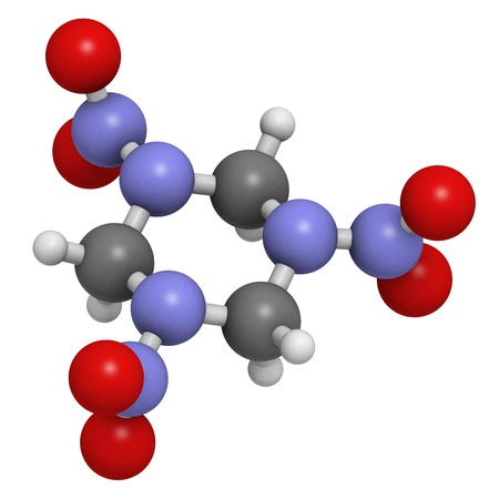 RDX (cyclonite, hexogen) explosive molecule, chemical structure. Atoms are represented as spheres with conventional color coding: hydrogen (white), carbon (grey), oxygen (red), nitrogen (blue) Stock Photo - 19617612