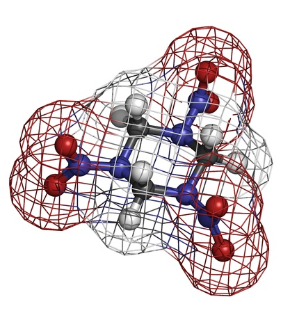 RDX (cyclonite, hexogen) explosive molecule, chemical structure. Atoms are represented as spheres with conventional color coding: hydrogen (white), carbon (grey), oxygen (red), nitrogen (blue) Stock Photo - 19617719