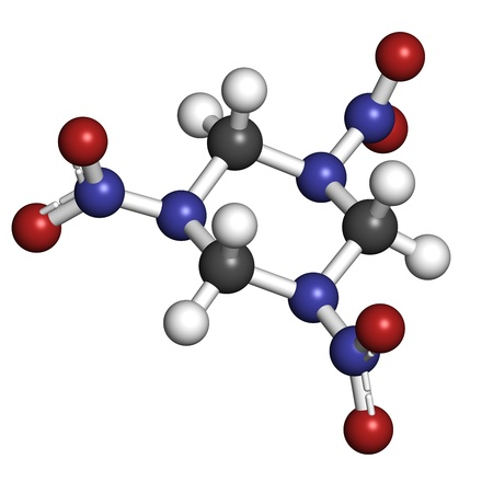 RDX (cyclonite, hexogen) explosive molecule, chemical structure. Atoms are represented as spheres with conventional color coding: hydrogen (white), carbon (grey), oxygen (red), nitrogen (blue) Stock Photo - 19617595