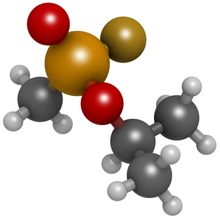 Sarin nerve agent, molecular model. Sarin is a chemical weapon, classified as a weapon of mass destruction. Atoms are represented as spheres with conventional color coding: hydrogen (white), carbon (grey), oxygen (red), fluorine (gold), phosphorus (orange Stock Photo - 19617618