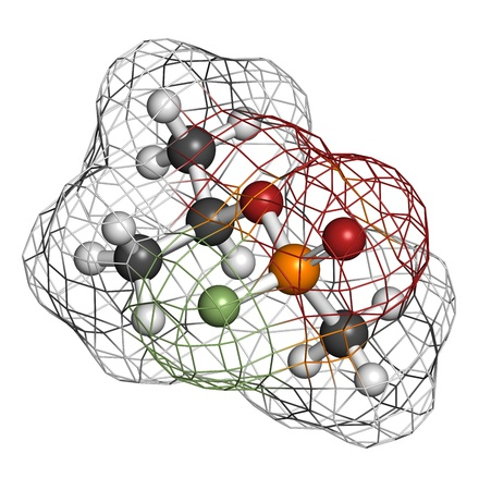 Sarin nerve agent, molecular model. Sarin is a chemical weapon, classified as a weapon of mass destruction. Atoms are represented as spheres with conventional color coding: hydrogen (white), carbon (grey), oxygen (red), fluorine (green), phosphorus (orang Stock Photo - 19617707