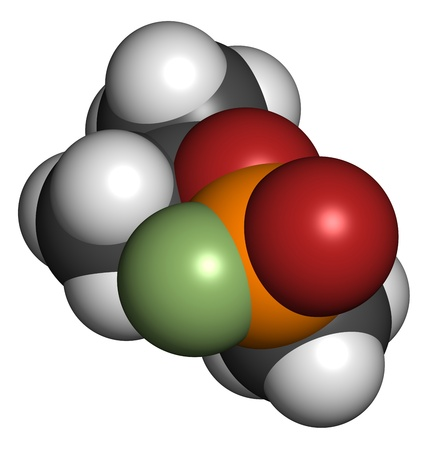 wmd: Sarin nerve agent, molecular model. Sarin is a chemical weapon, classified as a weapon of mass destruction. Atoms are represented as spheres with conventional color coding: hydrogen (white), carbon (grey), oxygen (red), fluorine (green), phosphorus (orang