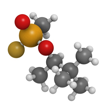 wmd: Soman nerve agent, molecular model. Soman is a chemical weapon, classified as a weapon of mass destruction. Atoms are represented as spheres with conventional color coding: hydrogen (white), carbon (grey), oxygen (red), phosphorus (orange), fluorine (gold