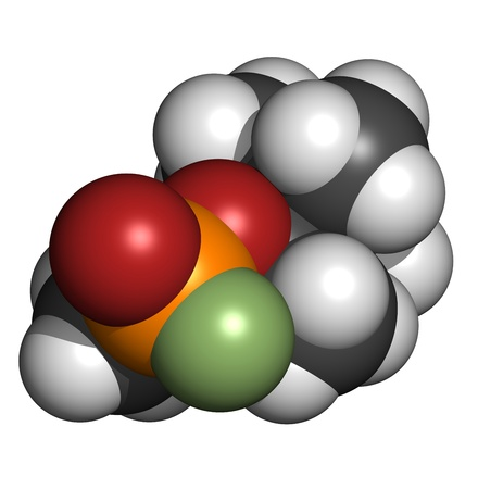Soman nerve agent, molecular model. Soman is a chemical weapon, classified as a weapon of mass destruction. Atoms are represented as spheres with conventional color coding: hydrogen (white), carbon (grey), oxygen (red), phosphorus (orange), fluorine (gree Stock Photo - 19617658