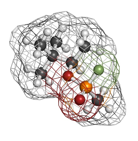 wmd: Soman nerve agent, molecular model. Soman is a chemical weapon, classified as a weapon of mass destruction. Atoms are represented as spheres with conventional color coding: hydrogen (white), carbon (grey), oxygen (red), phosphorus (orange), fluorine (gree Stock Photo