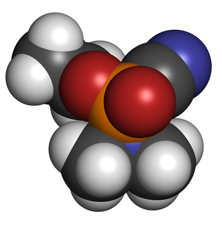 Tabun nerve agent, molecular model. Tabun is a chemical weapon, classified as a weapon of mass destruction. Atoms are represented as spheres with conventional color coding: hydrogen (white), carbon (grey), oxygen (red), nitrogen (blue), phosphorus (orange Stock Photo - 19617660