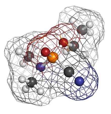 Tabun nerve agent, molecular model. Tabun is a chemical weapon, classified as a weapon of mass destruction. Atoms are represented as spheres with conventional color coding: hydrogen (white), carbon (grey), oxygen (red), nitrogen (blue), phosphorus (orange Stock Photo - 19617744