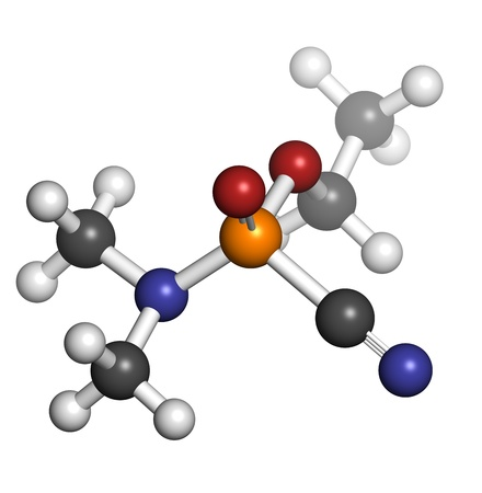 Tabun nerve agent, molecular model. Tabun is a chemical weapon, classified as a weapon of mass destruction. Atoms are represented as spheres with conventional color coding: hydrogen (white), carbon (grey), oxygen (red), nitrogen (blue), phosphorus (orange Stock Photo - 19617589