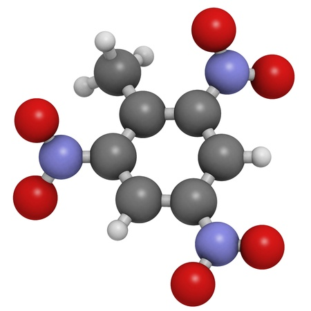 Trinitrotoluene (TNT) explosive molecule, chemical structure. Atoms are represented as spheres with conventional color coding: hydrogen (white), carbon (grey), oxygen (red), nitrogen (blue) Stock Photo - 19617619