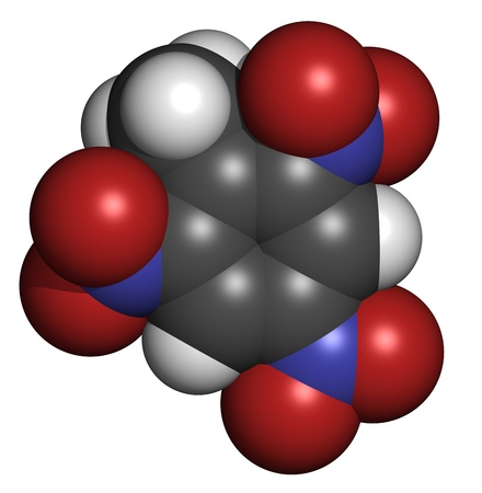 Trinitrotoluene (TNT) explosive molecule, chemical structure. Atoms are represented as spheres with conventional color coding: hydrogen (white), carbon (grey), oxygen (red), nitrogen (blue) Stock Photo - 19617659