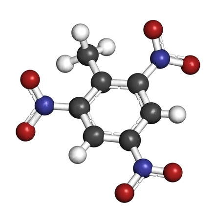 Trinitrotoluene (TNT) explosive molecule, chemical structure. Atoms are represented as spheres with conventional color coding: hydrogen (white), carbon (grey), oxygen (red), nitrogen (blue) Stock Photo