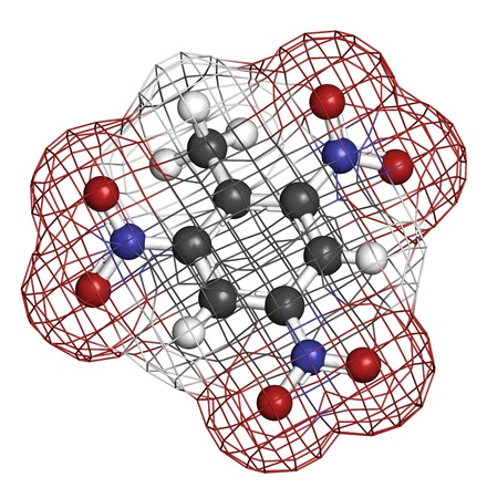 Trinitrotoluene (TNT) explosive molecule, chemical structure. Atoms are represented as spheres with conventional color coding: hydrogen (white), carbon (grey), oxygen (red), nitrogen (blue) Stock Photo - 19617754