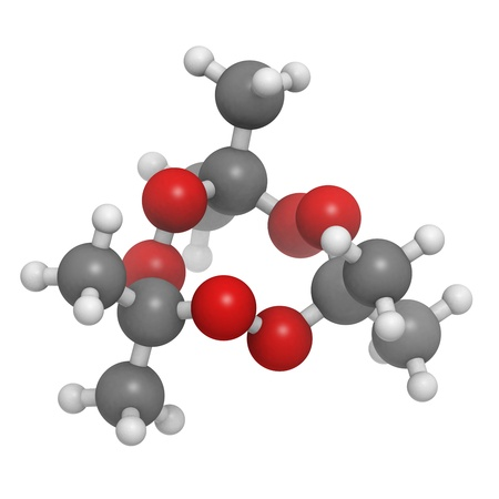 Acetone peroxide (triacetone peroxide, TATP) explosive molecule, chemical structure. Atoms are represented as spheres with conventional color coding: hydrogen (white), carbon (grey), oxygen (red) Stock Photo - 19617600