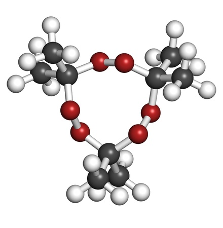 Acetone peroxide (triacetone peroxide, TATP) explosive molecule, chemical structure. Atoms are represented as spheres with conventional color coding: hydrogen (white), carbon (grey), oxygen (red) Stock Photo - 19617605