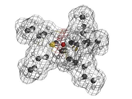 살균제: 트리 부틸 주석 산화물 (TBTO, 유기 주석) 목재 방부제, 분자 모델. 수소 (흰색), 탄소 (회색), 산소 (적색), 주석 (노란색) : 원자는 기존의 컬러 코딩 분야로 표시됩니다. 스톡 사진