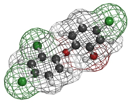 pollutant: Triclosan antibacterial, molecular model. Atoms are represented as spheres with conventional color coding: hydrogen (white), carbon (grey), oxygen (red), chlorine (green). Stock Photo