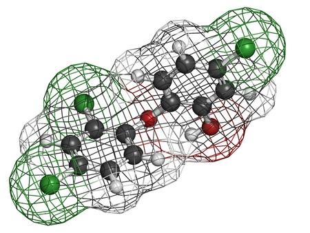 Triclosan antibakteriell, molekulares Modell. Atome sind als Kugeln mit herkömmlichen Farbcodierung repräsentiert: Wasserstoff (weiß), Kohlenstoff (grau), Sauerstoff (rot), Chlor (grün). Standard-Bild - 19617710