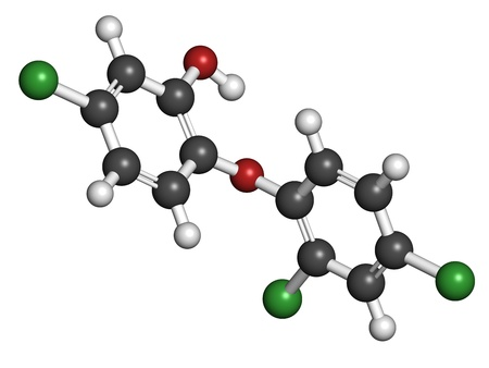 Triclosan antibacterial, molecular model. Atoms are represented as spheres with conventional color coding: hydrogen (white), carbon (grey), oxygen (red), chlorine (green). Stock Photo